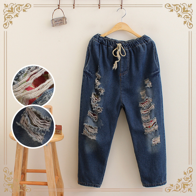 2018 New Plus Size Retro National Art Broken Hole Elastic Waist With Drawstrings Mid-calf Length Jeans Female Patch Work Pants