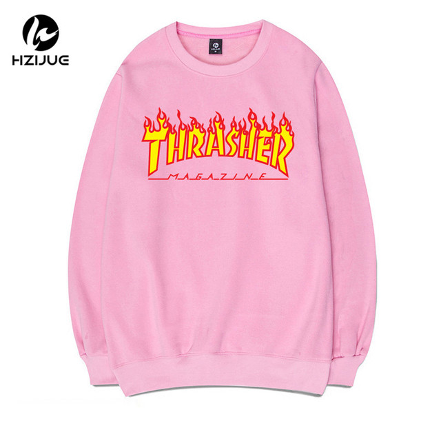 2017 HZIJUE Thrasher Hoodies Men and women Trasher sweatshirts long sleeve flames printed hip-hop casual couple tops Plus Size