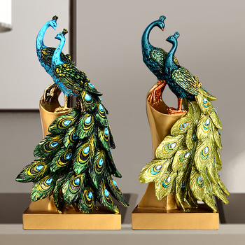 creative resin peacock statue home decor craft room decoration objects Wine cooler figurine vintage office ornament Wedding Gift