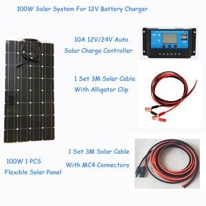 Image 1 - 100W Zonnestelsel Fotovoltaïsche Kit Systeem Power Station Voor 12V Zonnepaneel Batterijen Charger Hele Solar Kit Set met Kabel