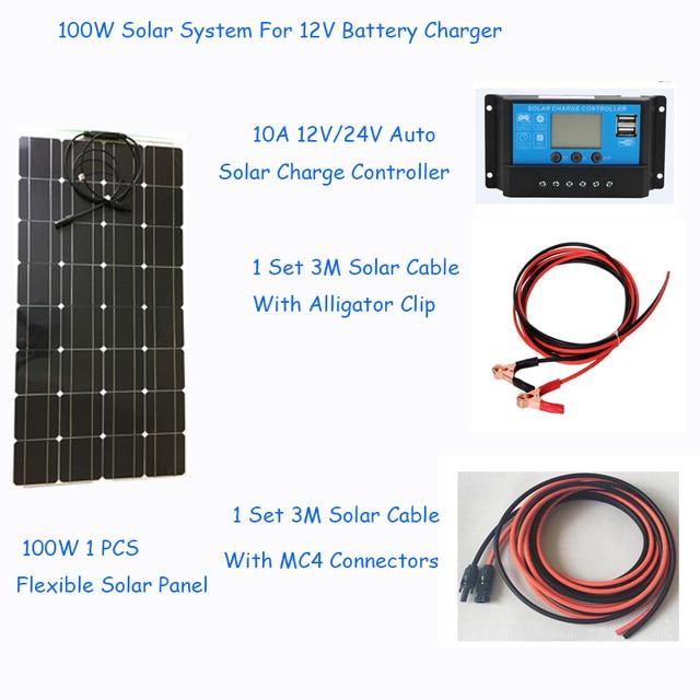 100W Zonnestelsel Fotovoltaïsche Kit Systeem Power Station Voor 12V Zonnepaneel Batterijen Charger Hele Solar Kit Set met Kabel