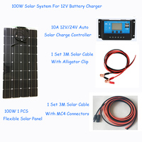 100w solar system photovoltaic kit system power station for 12V solar panel batteries charger whole solar kit set with cable
