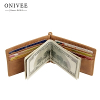 ONIVEE Hot Sale Fashion New Men Money Clips Leather 2 Folded Open Clamp For Money With Zipper Pocket LH3321