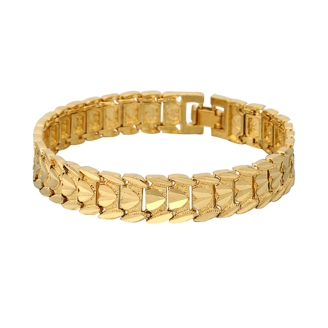 Gold Color Heart Bracelet Jewelry Wristband 12MM 20 5CM Chunky Big