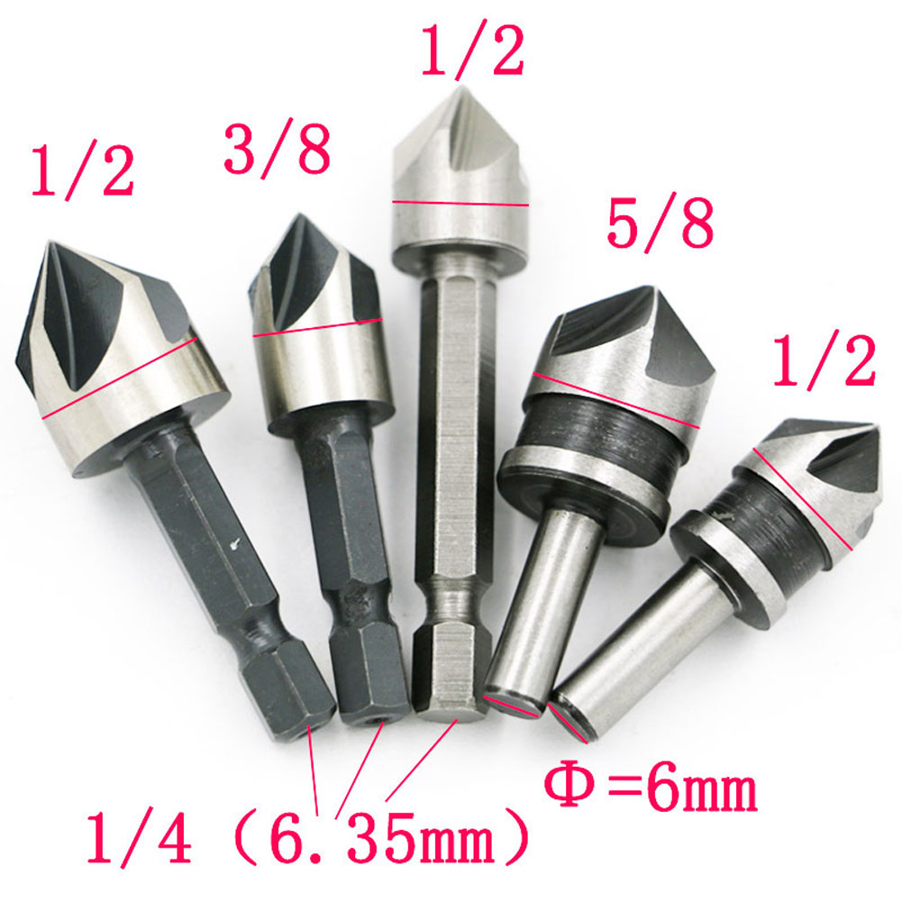 5pcs HSS 5 Flute Countersink 82 Degree Point Chamfer Angle Drill Bit Set Tool chamfering workpiece deburring tapered bore