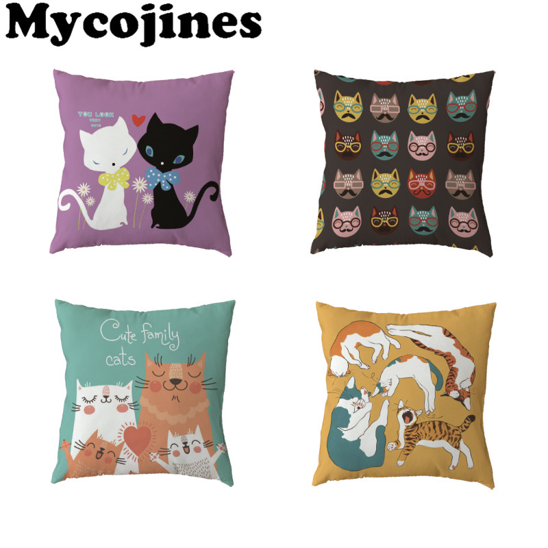 Hot Sale White Throw Pillow Cases Cute Cat Headphone Love Letter Home Bedroom Sofa Living Room Gift Decoration Cushion Covers