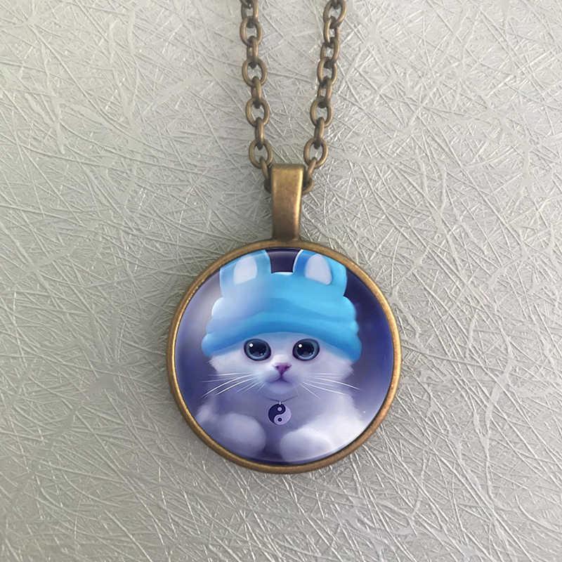 WUSQWSC الإبداعية الحيوانات الأليفة القط يرتدي تاي تشي قلادة لطيف القط الزجاج جوهرة قلادة مع اثنين من آذان مجوهرات للنساء الفتيات الهدايا