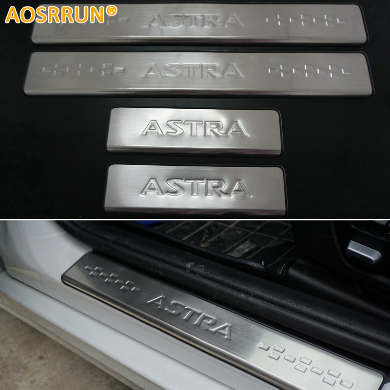 aosrrun car accessories stainless steel scuff plate door sill for opel astra j vauxhall astra. Black Bedroom Furniture Sets. Home Design Ideas