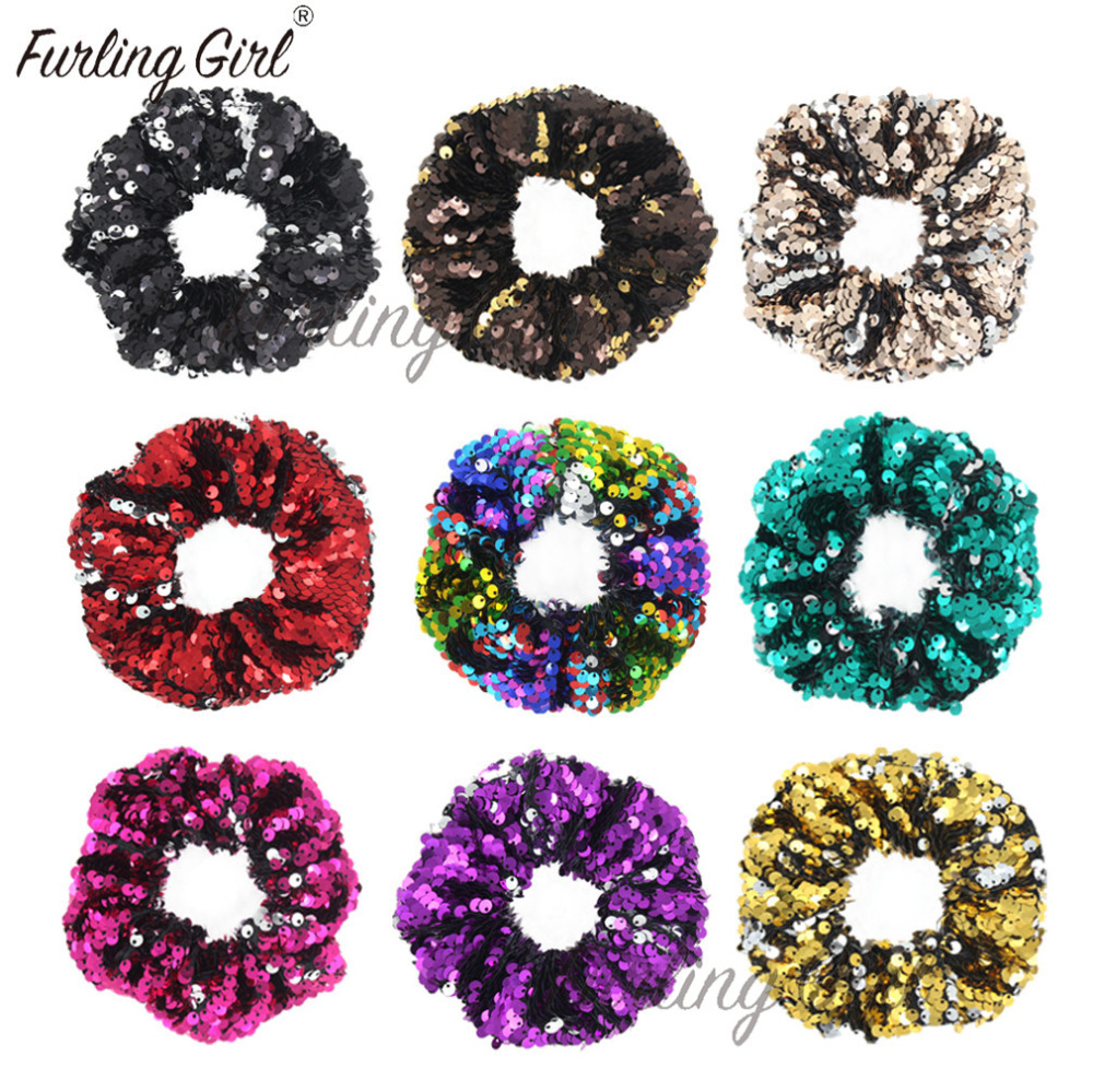 Furling Girl 1 PC Double Colors Sequins Elastic Hair Bands Glitters Hair Scrunchies In Large Size Shinny Bling Hair Accessories