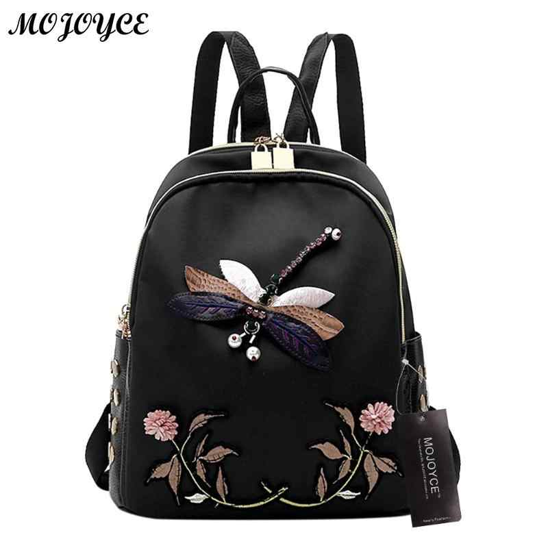 Handmade Embroidery New Fashion Women Backpack for Teenage Girls High Quality Designer Oxford Black Elegant Female Backpacks2018