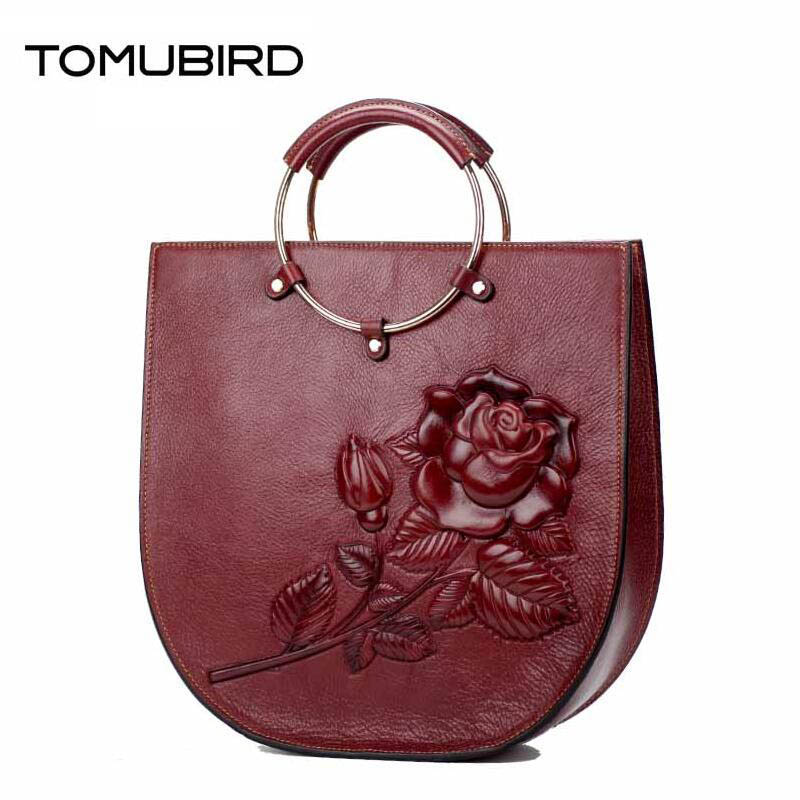 TOMUBIRD 2017 new superior leather Rose embossed designer famous brand women bag genuine leather tote handbags shoulder bag tomubird 2017 new superior cowhide leather painting genuine leather embossed women leather handbags tote leather shoulder bag