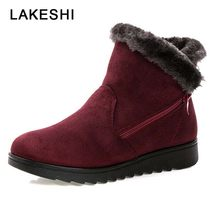 2018 New Women Boot Short Plush Ankle Boots Women Fashion Waterproof Wedge Platform Winter Warm Snow Boots Ladies Short Boots(China)