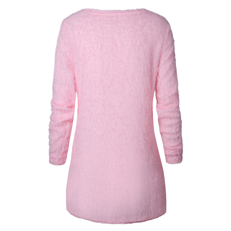 Casual Solid Color Plush Sweater 4