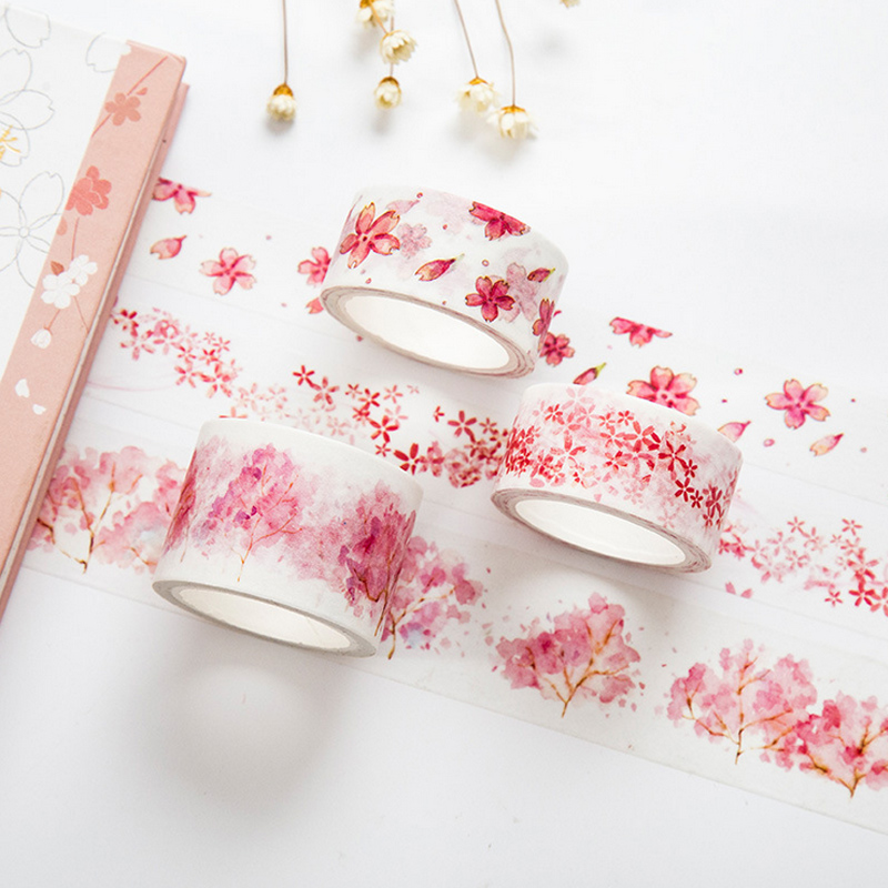 2-3cm*7m Sakura Blossoms Washi Tape DIY Decorative Scrapbook Planner Masking Tape Adhesive Tape Stationery School Supplies