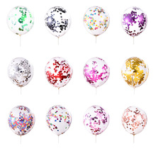 10PCS Glitter Confetti Latex Balloons Clear Balon Inflatable Wedding Happy Brithday Party Decoration Baby Shower Decor Supplies