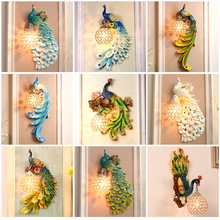 Nordic LED Loft Resin Peacock Wall Lamps Vintage Bedroom Living Room Corridor Lights Indoor Lighting Decoration Outdoor
