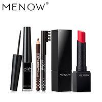 MENOW Brand Eyeliner Gift Black And Brown Pencil Hot Partner Matt Lipstick Waterproof Long Lasting Make