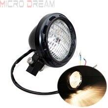 E-mark 4 Edge Cut Black Retro Billet Aluminum Cafe Racer Head Light H4 Bulbs Headlamp For Harley Sportster 883 Scrambler Bobber