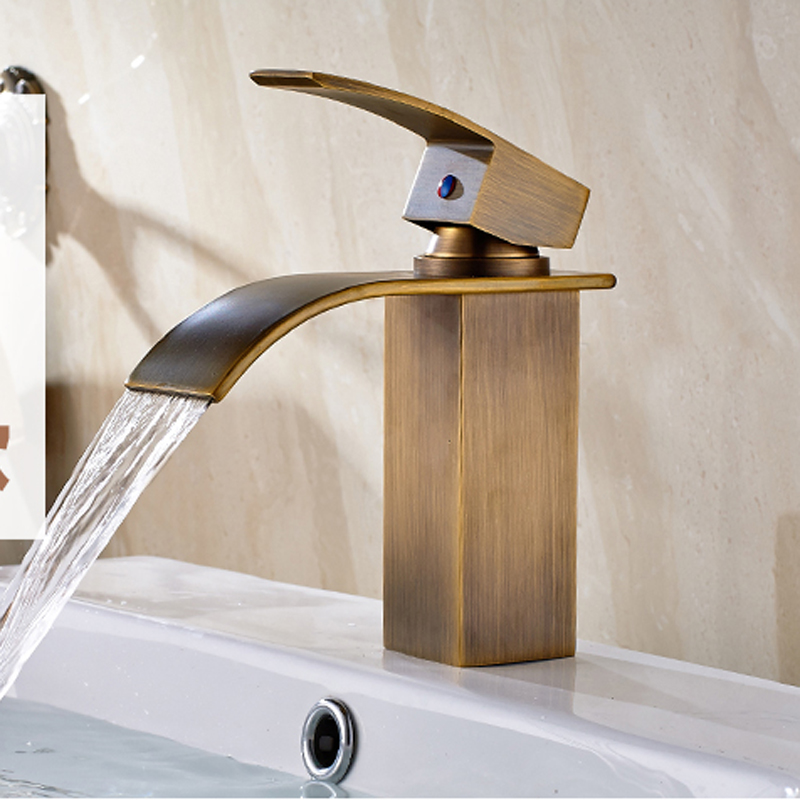 все цены на Antique Brass Deck Mounted Bathroom Sink Faucet Single Handle Basin Mixer Tap Waterfall Spout Tap Crane онлайн