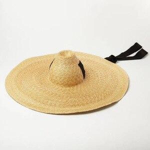 Image 5 - Kadınlar için doğal dokuma dev hasır şapka büyük ağzına kadar disket güneş şapkası yüksek Top şerit bant dev Jumbo Sombrero şapka yetişkin yaz plaj şapkası