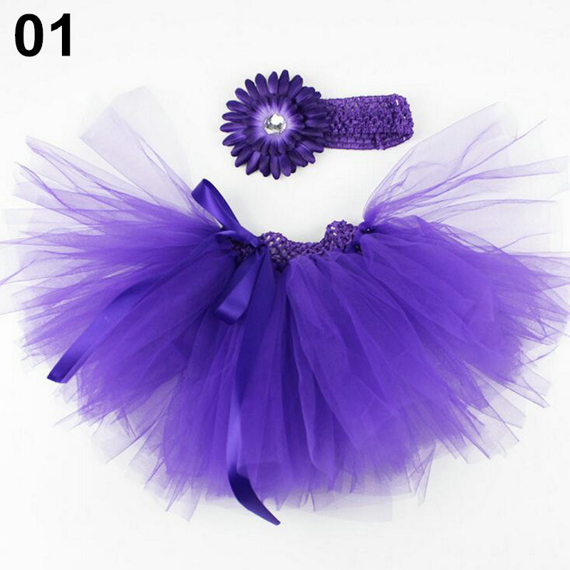 Hot Sales Infants TUTU Skirt 18 Designs Layers Newborn Tutu Skirts Infant Girl Newborn Photograph Bow Skirt + Flower Headband