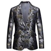 2018 plus fertilizer XL two buckle business trend floral small suit large suit host casual jacket male S 6XL