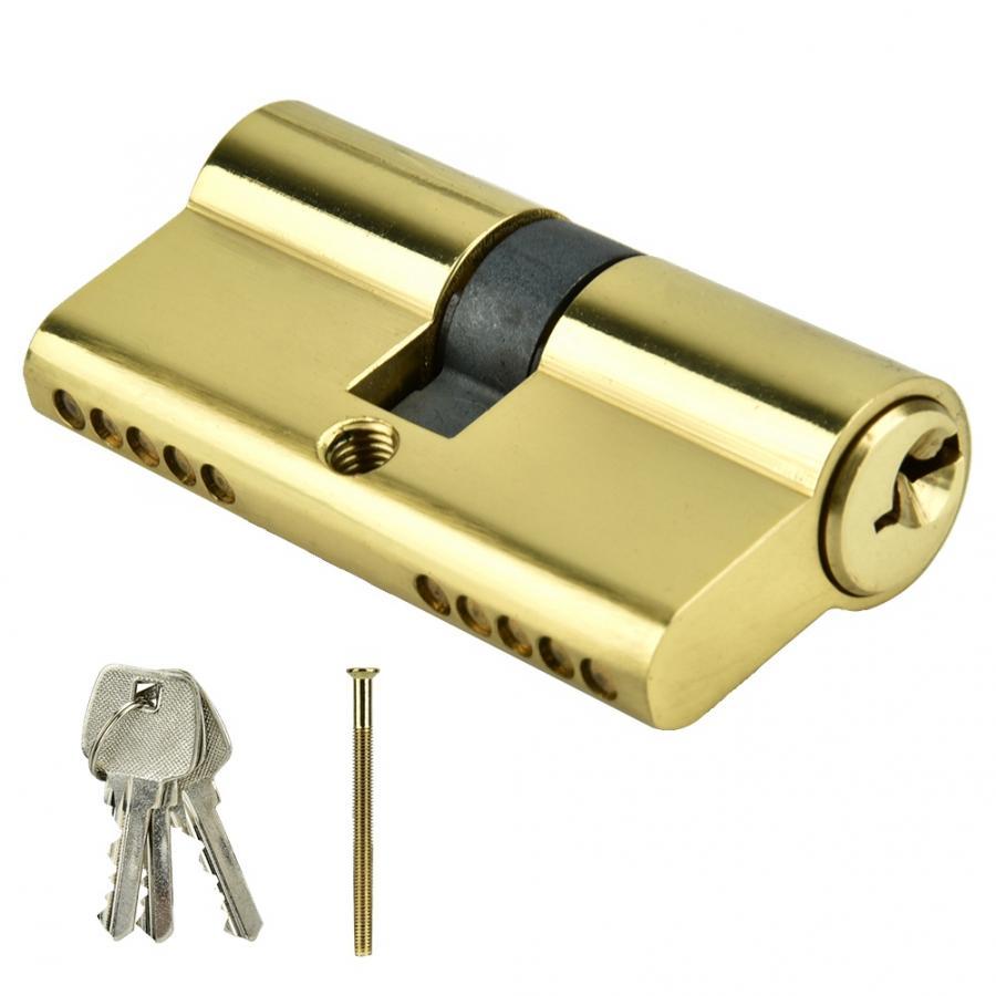 Door Cylinder Biased Lock 60mm Security Copper Dual Open Lock Cylinder Anti-theft Entrance Brass Door Lock Cylinder with Keys