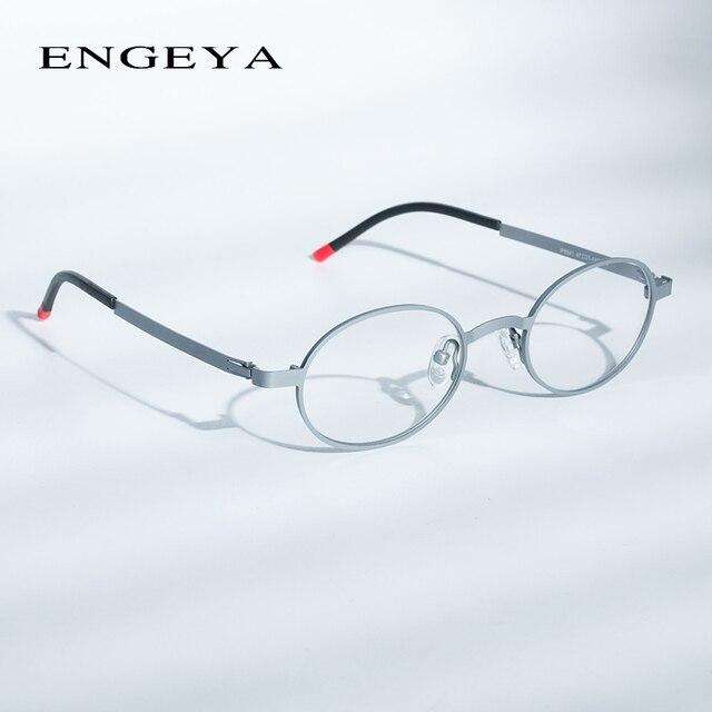 a2cba385e Rodada Óculos de Armação Metal Homens Mulheres Retro óculos Miopia Óptico  Quadro Eyewear Único HingeSuper Luz 5 Cores #8041