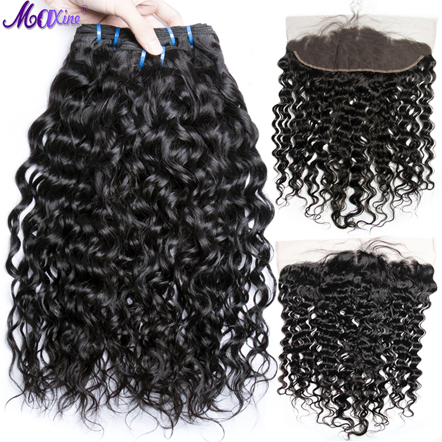 Maxine Water Wave Bundles With Closure Peruvian Hair 3 Bundle Human Hair Non Remy Weave Lace