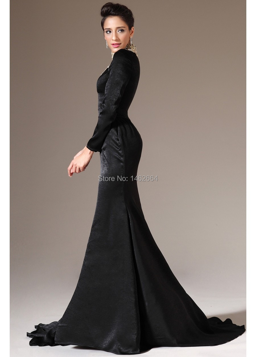 cbd05215698 Sexy High Neck Long Sleeve Velvet Black Arabic Evening Dresses 2015 Mermaid  Formal Gowns