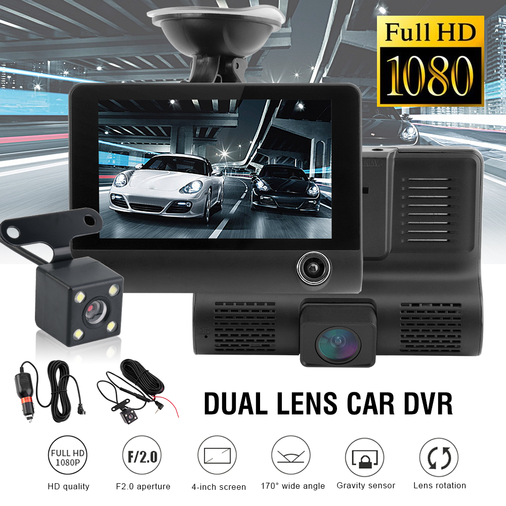 Car DVR Dash Camera Full HD 1080P 4.0 Inch Three Camera IPS Screen Car Camera Dash Cam Driving Video Recorder Car accessories-in DVR/Dash Camera from Automobiles & Motorcycles
