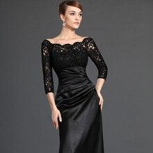 Vintage Schwarze Spitze Meerjungfrau Abendkleider 2016 Elegante Scoop Neck Zipper Zurück Drei Viertel Ärmeln Lange Formale Kleid