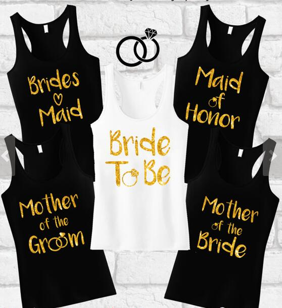 Personalize Glitter Wedding Bride Squad Tank Tops Singlets Maid Of