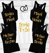 Personalize Glitter Wedding Bride Squad Tank Tops Singlets Maid Of Honor Tanks T Shirts Bridesmaid Gift Bridal Party Favors