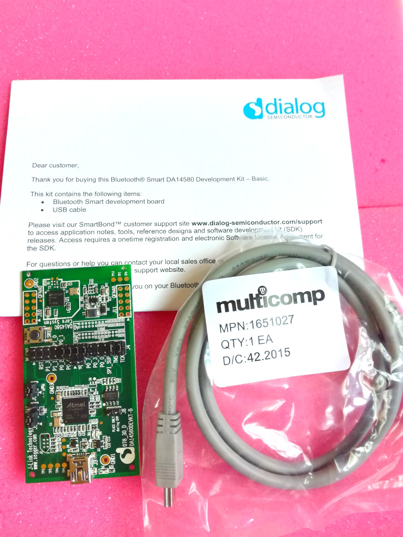 DA14580DEVKT-B Bluetooth Dialog Bluetooth Development Board Module bluetooth 4 0 dialog 14580 chipset high quality wristband ibeacon module