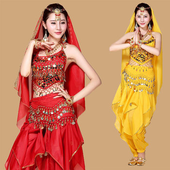 4pcs High-Grade Ladies Stage Performance Belly Dance Costume Bollywood Costumes Women Belly Dance India Dancing Dress Dnacewear фото