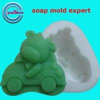 Nowe przyloty!!! cute zwierząt napędu samochodów kształt mydło mold/ciasto pleśni/statua craft formy/form silikonowych/pieczenia narzędzia