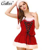 COLLEER Sexy Lingerie Hot Women Christmas Bra Set Underwear Mesh Transparent Role Play Costumes 2018