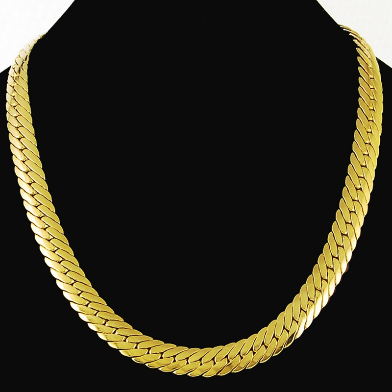 Chunky Heavy Herringbone Chain Solid Yellow Gold Filled Mens Necklace 24