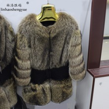 Linhaoshengyue fashion women Real raccoon fur coat freeshipping warm winter