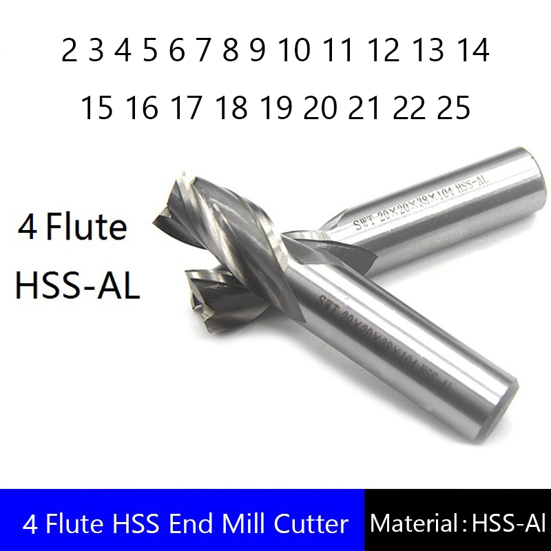 Four 4 Flute HSS End Mill Cutter CNC Bit Milling Cutter 2 3 4 5 6 7 8 9 10 11 12 13 14 15 16 17 18 19 20 21 22 25