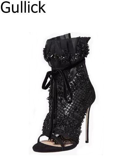 Women Elegant Black Lace Crystal Embellished High Heel Sandal Peep Toe Ankel Lace-up Gladiator Sandal Boots Back Zipper Heels black sequins embellished open back lace up top