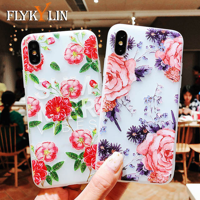 hot sale online 078dc b922a US $1.78 |FLYKYLIN Cute Flowers Phone Case For iphone XS Max Case For  iphone XR X 6S 6 7 8 Plus Cover 3D Relief Cartoon Cases Slim Coque-in  Fitted ...