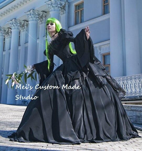 Custom Made Code Geassaa Costume Black Taffeta Gothic Victorian Ball ...