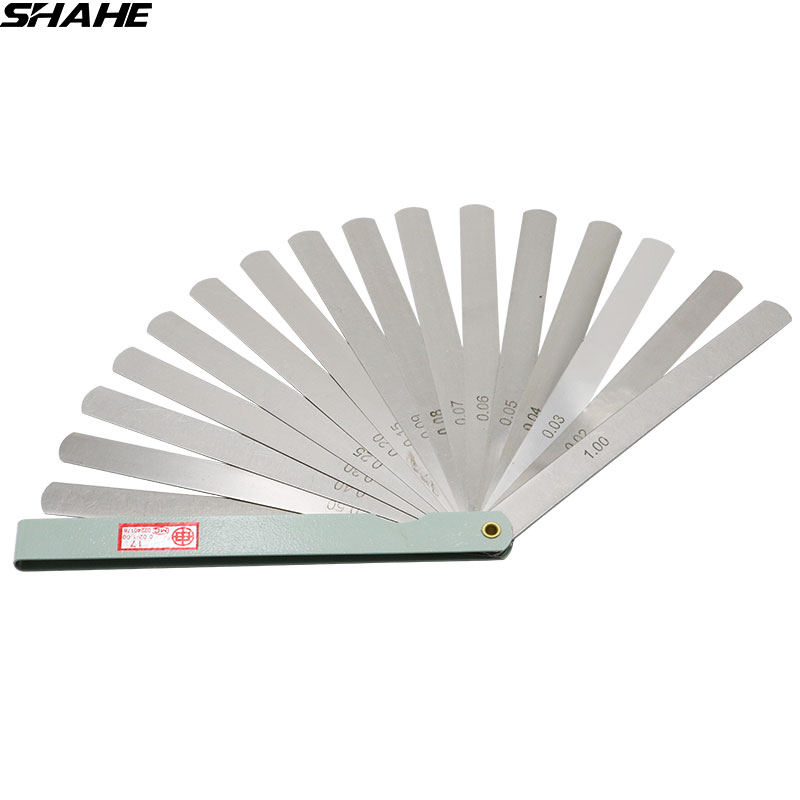 shahe 150 mm length Metric Feeler Gauge 0 02-1 00 mm Feeler Gauge 17 Blades  Measuring Tools