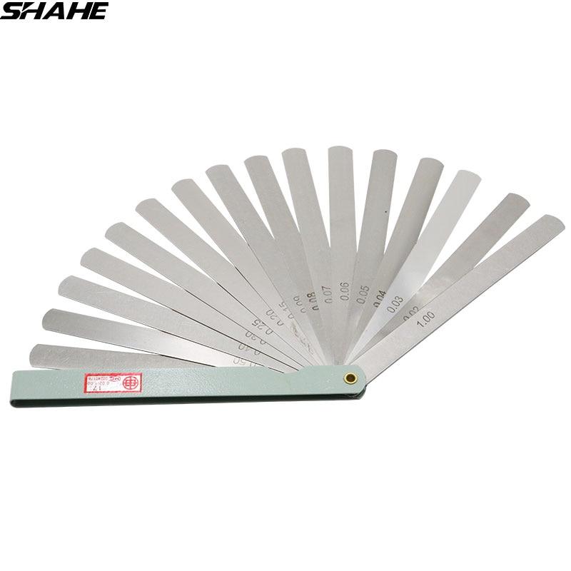 shahe 150 mm length Metric Feeler Gauge 0.02 1.00 mm Feeler Gauge 17 Blades  Measuring Tools|Feeler Gauges| |  - title=