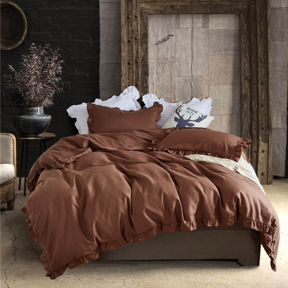 Modern Flouncing Bedding Sets Solid Color Duvet Cover Set with Ruffles Pillowcase Quilt Cover US Size Twin/Queen/King 10 Colors
