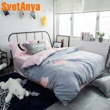Мультфильм Прекрасный Фламинго серый постельное бельё королева полный двойной размер хлопок постельное белье пододеяльник простыня наволочки