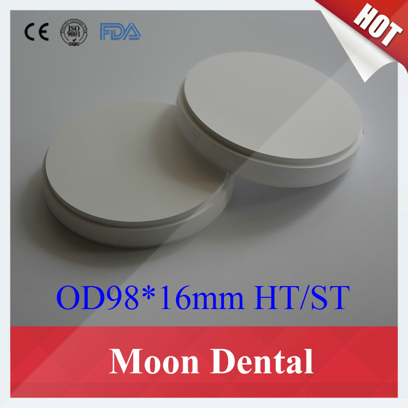 High Quality 3 PCS of HT ST OD98*16mm Dental Zirconia Ceramic Blocks for Open CAD CAM Milling System Machine 10 pcs lot ht st od98 16mm wieland system dental zirconia blocks pucks with plastic ring outside for cad cam milling machine