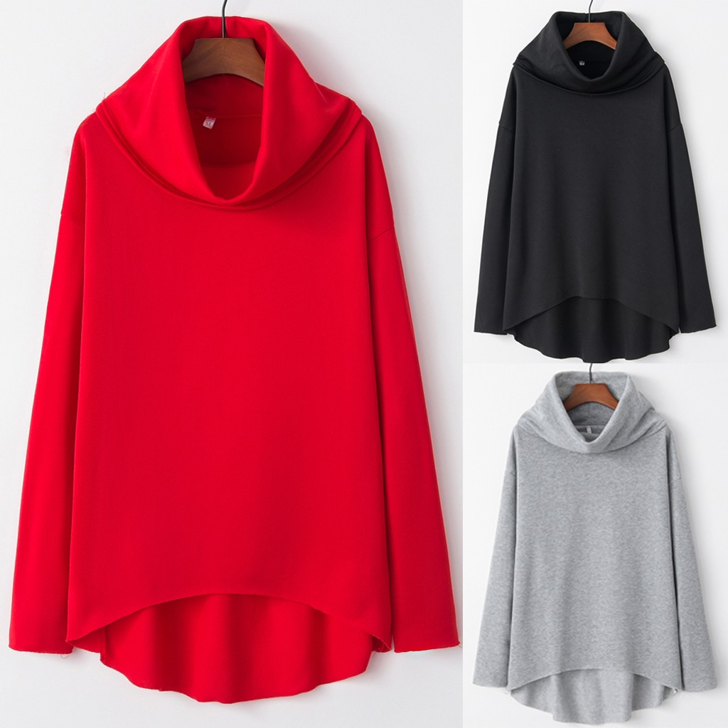 FEITONG Fashion Women Top Pure Color Shirt Long Sleeve High Collar Casual Loose Blouse куртка женская